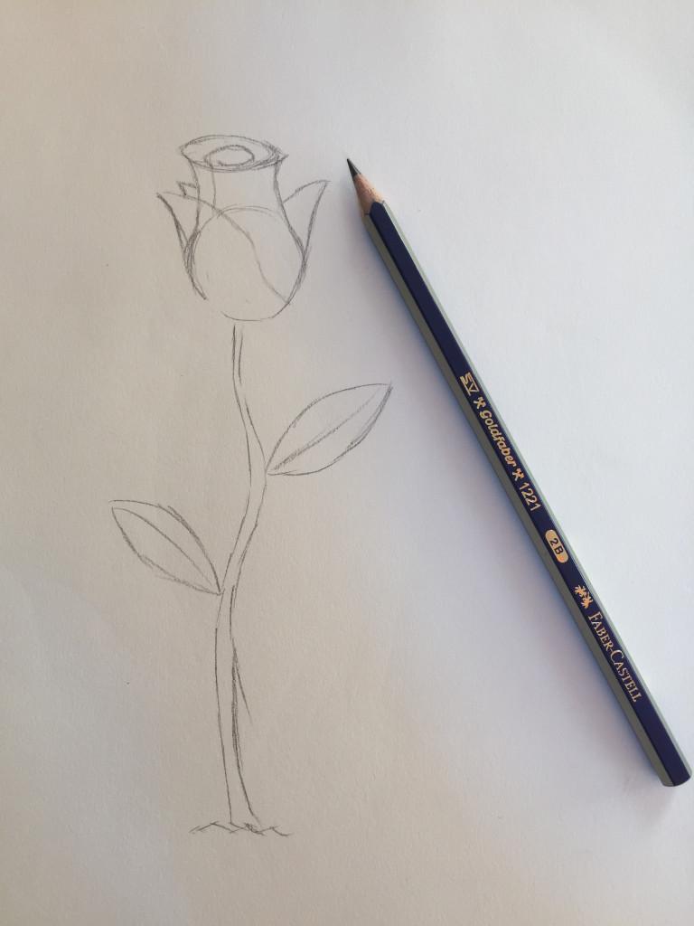come disegnare una rosa fase 3