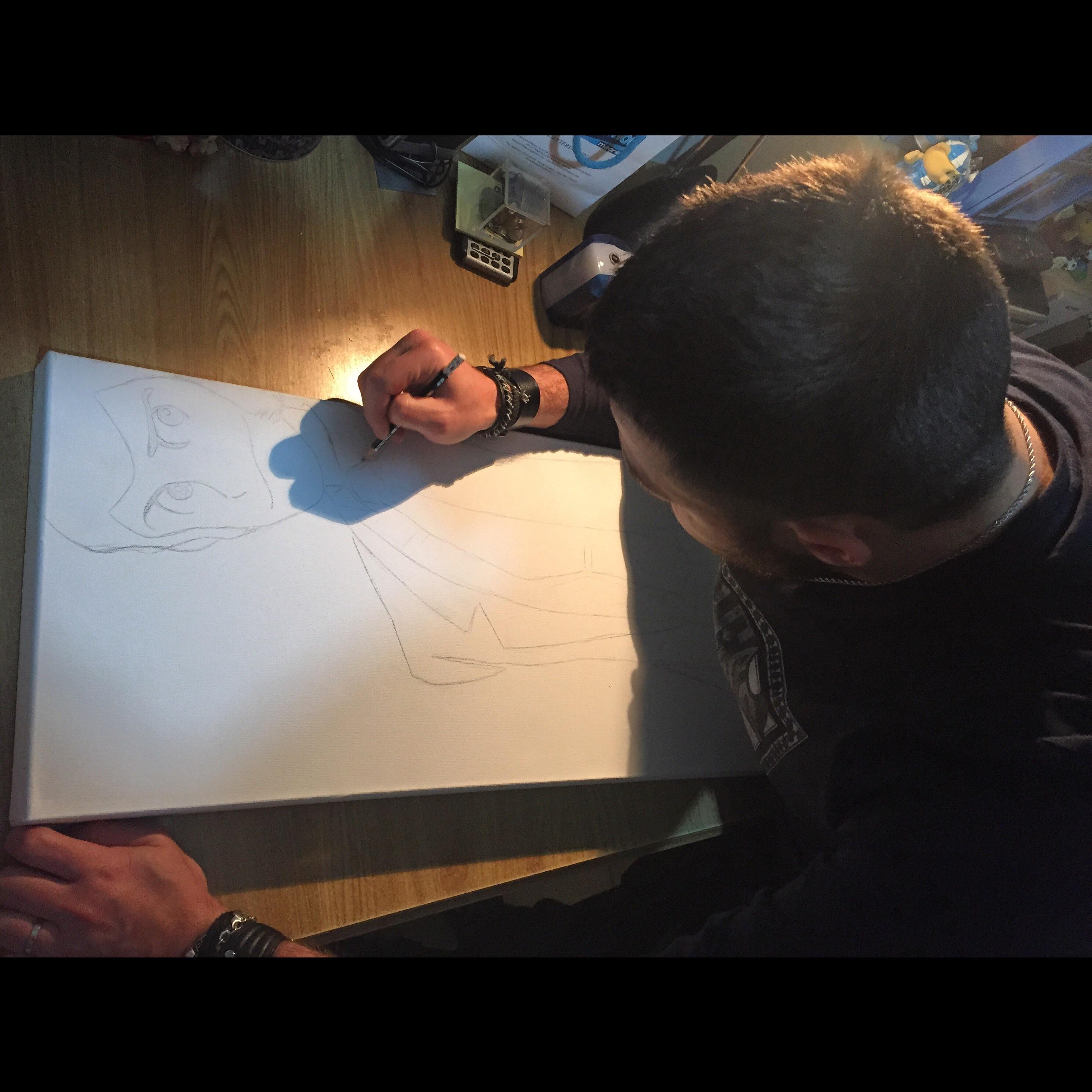 quadro lupin disegnato su tela