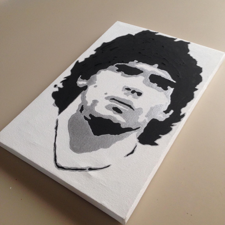 Quadro Maradona su tela dipinto a mano