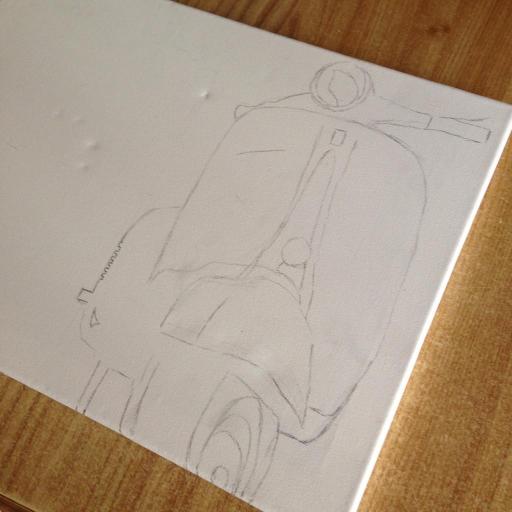 disegno vespa su tela 40x30