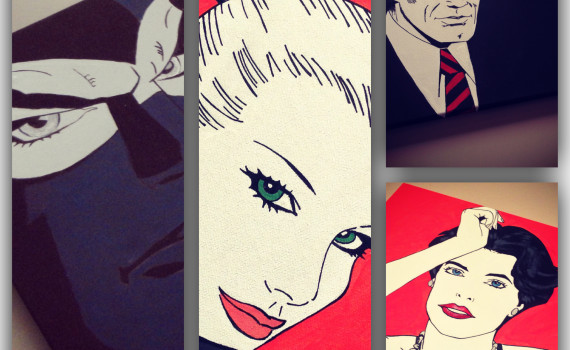personaggi di Diabolik in stile pop art